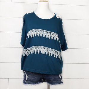 Anina teal short sleeve top with feather lace trim